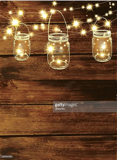 rustic string lights wooden background with jar and string lights vector