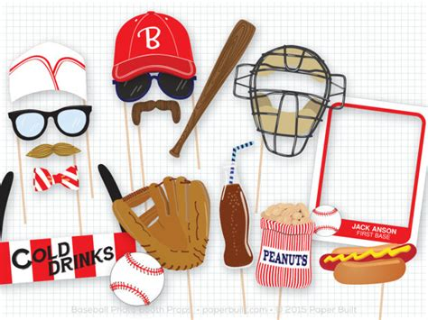 printable baseball photo booth props baseball photo booth props sports photobooth props vintage
