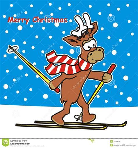reindeer  ski royalty  stock image image