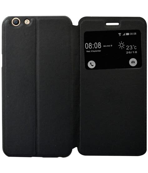 Flip Cover Oppo F1s Auto Lock oppo f1s flip cover by coverage black flip covers at low prices snapdeal india