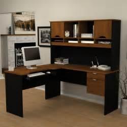 L Shaped Desk Black Bestar Innova L Shape Computer Desk Tuscany Brown Black Desks At Hayneedle