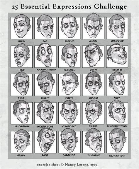 Drawing Expressions by 25 Expressions Challenge By Solitarium On Deviantart