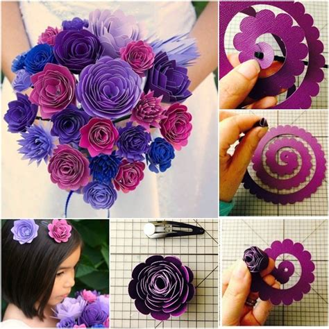 How To Make Paper Flower Bouquet - diy wedding flower bouquet from template