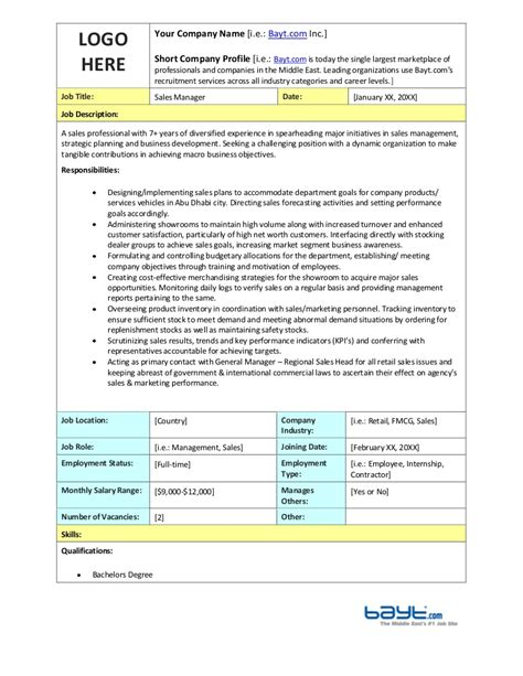 Sales Manager Job Description Template By Bayt Com Manager Description Template