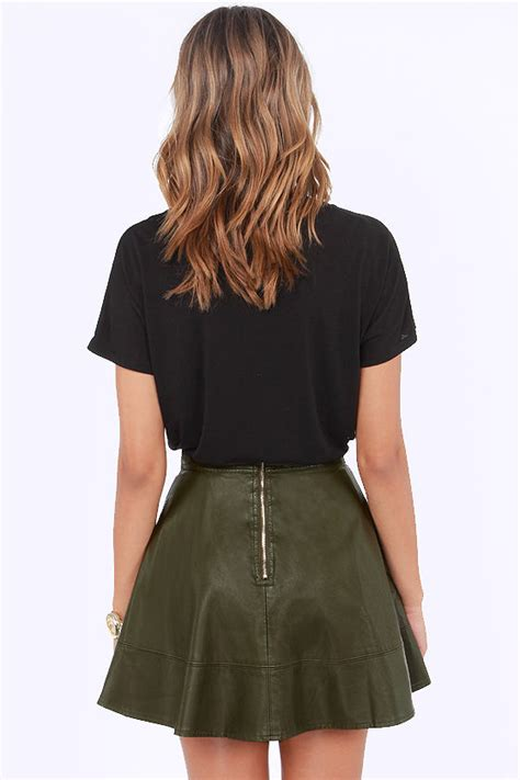 olive green skirt vegan leather skirt 43 00