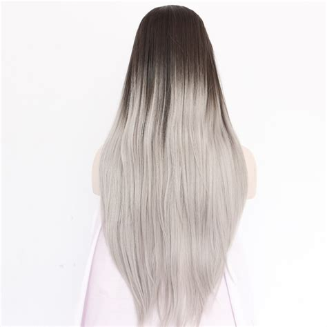 Handmade Wigs - handmade grey drak roots ombre silky lace