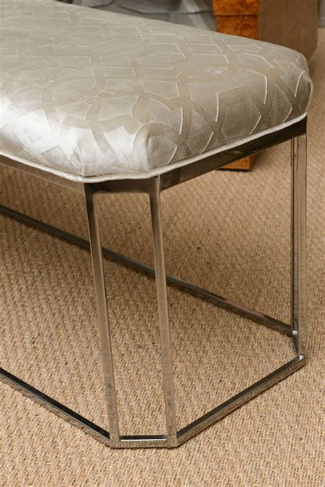 milo baughman bench milo baughman hexagonal chrome and upholstered bench for sale at 1stdibs