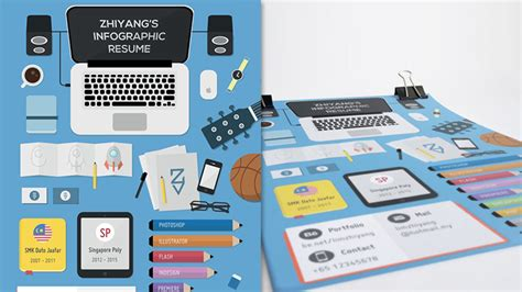 membuat poster kreatif creative self promotion infographic style curriculum vitaes