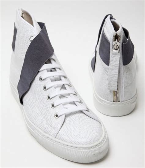 raf simons white strapped hi top sneakers por homme contemporary s lifestyle magazine