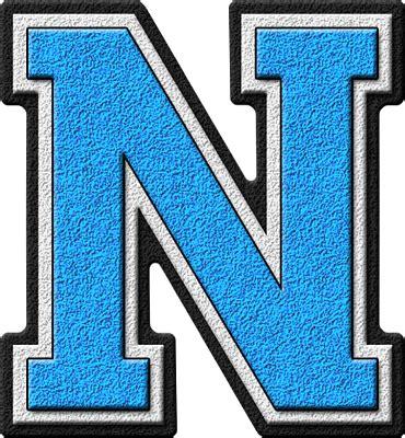 Blue W I Z A R D presentation alphabets light blue varsity letter n