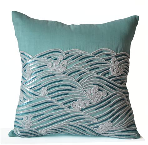 Decorative Throw Pillows For by Decorative Pillow Cover Teal Throw Pillows Sequin Accent