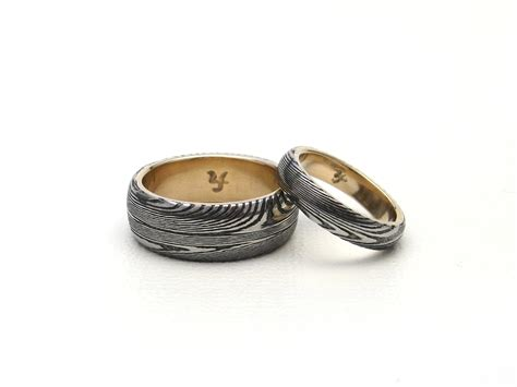 pattern welding gold j arthur loose damascus rings blades jewelry