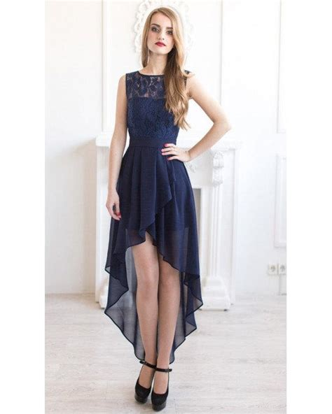 Navy Asimetric Dress navy blue bridesmaid dress asymmetric navy lace dress navy