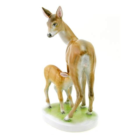 porcelain deer hungarian porcelain herend deer with fawn figurine antique collectible center