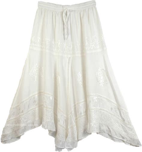 Hem Nevada White M handkerchief hem embroidered white skirt clothing white white skirts handkerchief