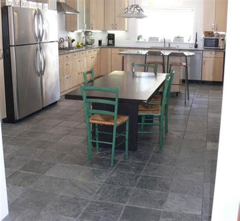 types of kitchen flooring ideas gray slate floor light maple cabinets stainless steel