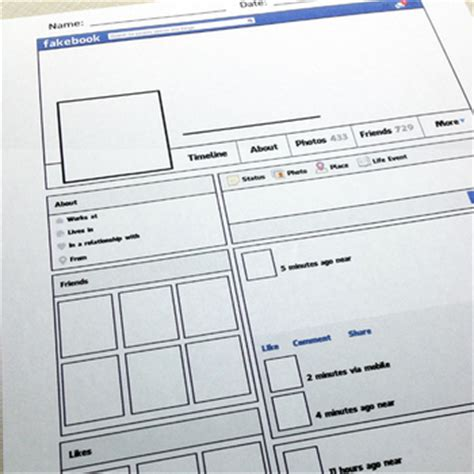 fakebook template printable profile board for teachers