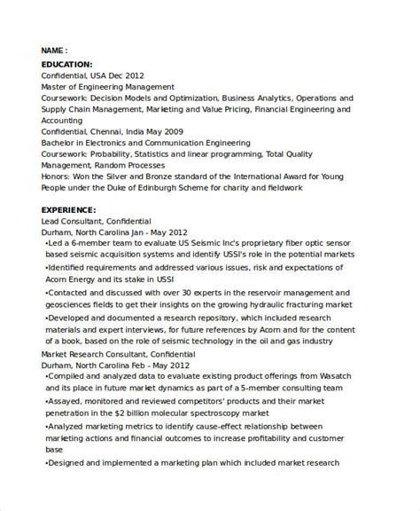 Market Research Consultant Sle Resume by Marketing Resume Sles For Successful Hunters