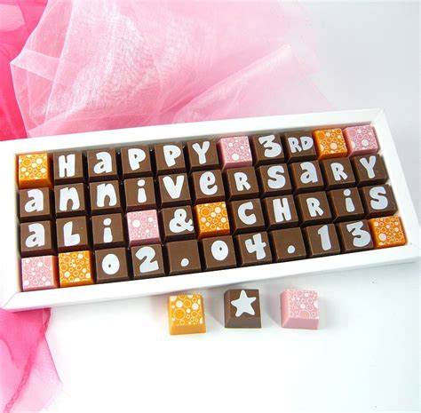 personalised anniversary chocolates by chocolate by