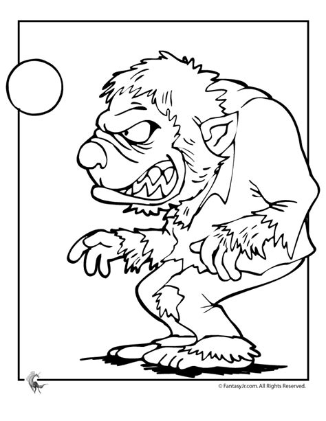 halloween wolf coloring pages werewolf and full moon halloween coloring page woo jr