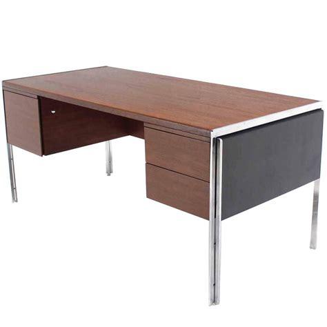 stow davis executive desk rare chrome and walnut stow davis desk at 1stdibs