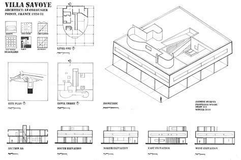 Villa Savoye Floor Plan Dwg | villa savoye project on behance