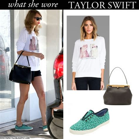 taylor swift cat top what she wore taylor swift in white cat print top with