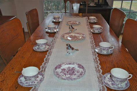 DIY Vintage White Burlap And Lace Table Runner On Long