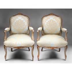 pair of 19th c painted louis xv fauteuils a la reine or