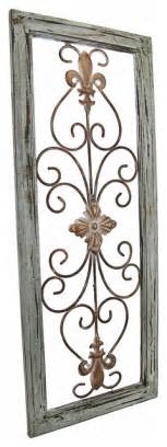 wrought iron and wood wall decor distressed wooden green frame wrought iron fleur de lis