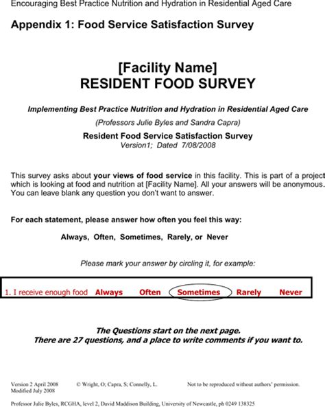 Download Food Survey Templates For Free Formtemplate Resident Survey Template