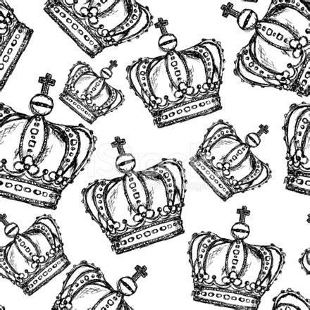 vintage pattern sketch sketch crown vector vintage seamless pattern stock vector