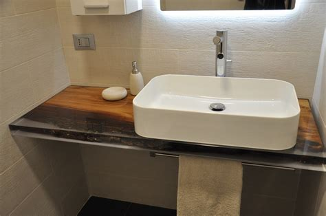 Top Bagno Legno by 洗脸池台面 Bathroom Top With Wood And Resin By Azimut Resine