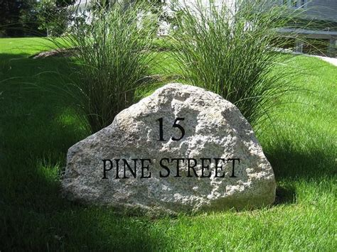 Landscape Rock House Number Engraved Address Outdoors