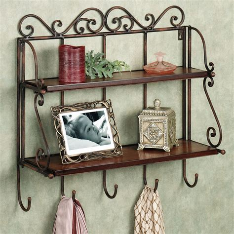 hanging bathroom shelves metal hanging bathroom wall shelves with towel hooks