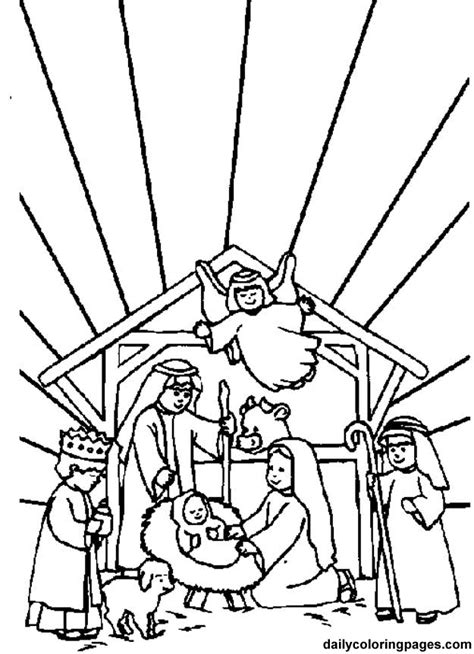 nativity scene coloring page coloring home