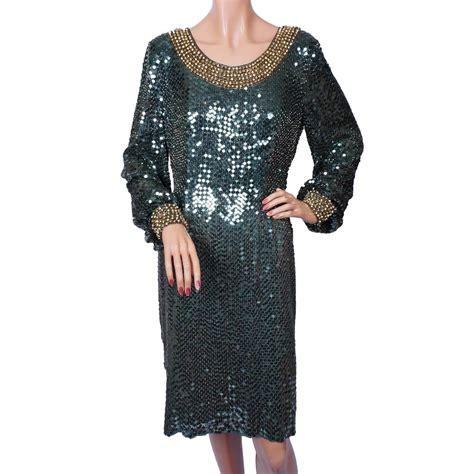 chagne beaded dress vintage 80s green sequin beaded dress size m poppy s