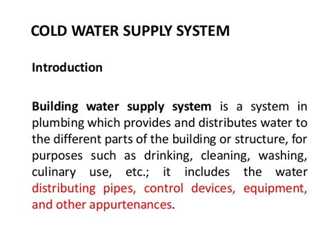 Cold Water Systems Plumbing by Cold Water Supply And Pipe Sizing