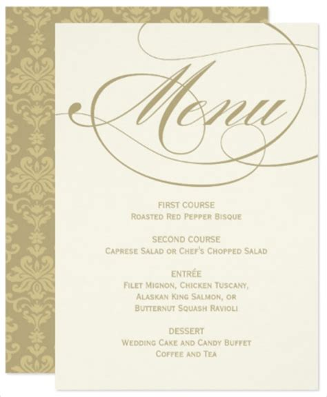 wedding dinner menu template 21 printable wedding menu cards free psd vector eps