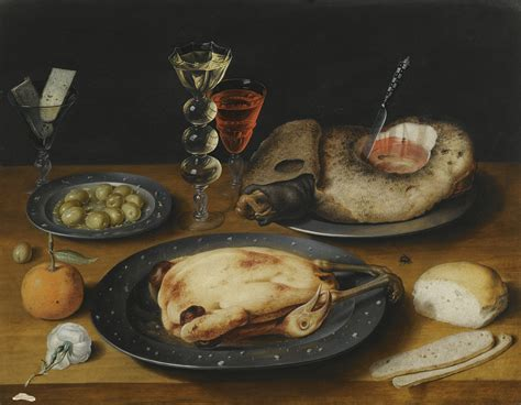 Tiny Kitchens file still life of a roast chicken a ham and olives on