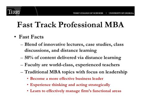 Fast Track Mba Business School Nederland by Uga Terry College Of Business Executive Programs