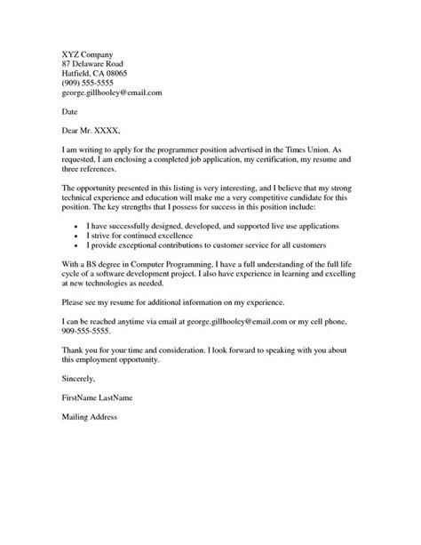 cover letter for fair application cover letter exle resumes