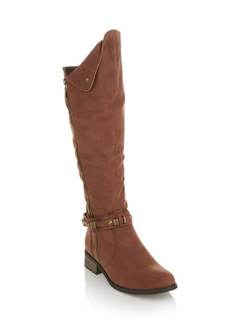 Rage Brown rage boots with fold detail brown t716zso