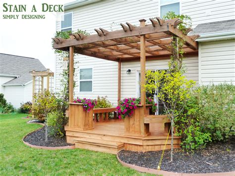 pergola with deck how to stain a deck and pergola