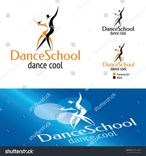 dance school logo template stock vector illustration