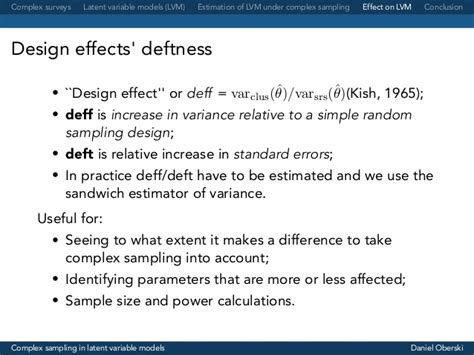 design effect kish complex sling in latent variable models