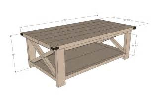 coffee table size ana white rustic x coffee table diy projects