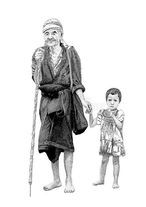 Old man with granddaughter stock illustration