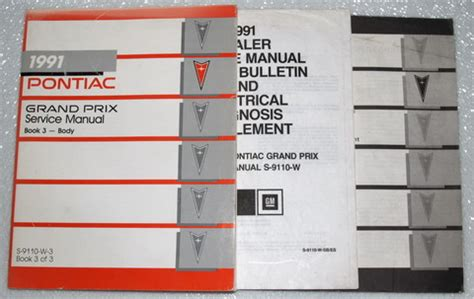 1991 pontiac grand prix factory service manual set le se