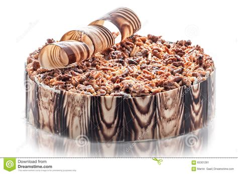 birthday chocolate cake with nuts and chocolate decoration